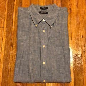 Men's Nautica 100% Linen Short Sleeve Button Down